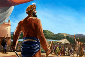 Vaisakhi 1699, the Birth of the Khalsa, inaugurated by Sikhism's 10th Guru, Gobind Singh